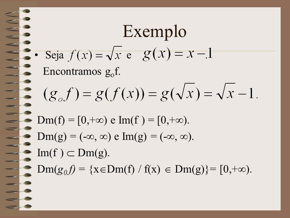 Exemplo Seja e . Encontramos gof. Dm(f) = [0,+) e Im(f ) = [0,+).